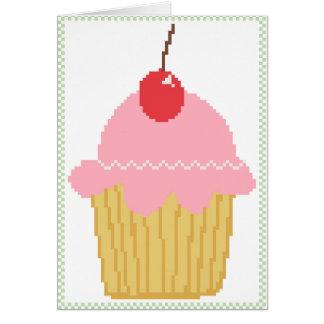 pink cherry cupcake greeting card