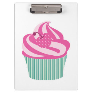 Pink Cherry Cupcake with Green Stripes Clipboard