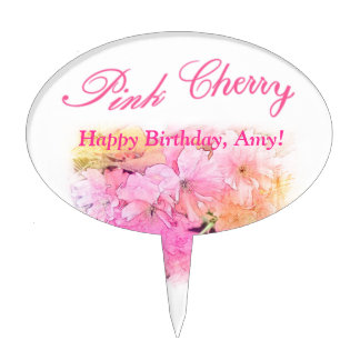 Pink cherry flower photo art Birthday cake top Cake Pick