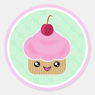 Pink Cherry Kawaii Cupcake Stickers