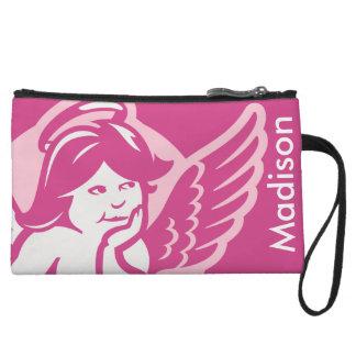 Pink Cherub Girls Personalized Wristlet
