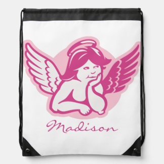 Pink Cherub Personalized Drawstring Backpack