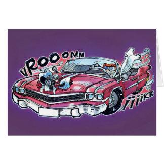 pink chevrolet bridal car cartoon card