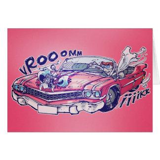 pink chevrolet bridal car cartoon style card