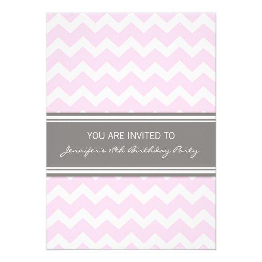 Pink Chevron 18th Birthday Party Invitations