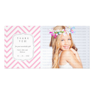 Pink Chevron - Any Occasion Thank you Customised Photo Card