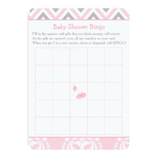 Pink Chevron Ballerina Baby Shower Bingo Card