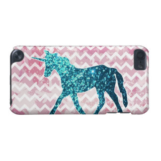 Pink Chevron, Blue Glitter Unicorn iPod Touch 5G Cover