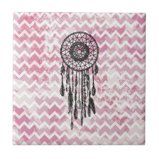 Pink Chevron Dreamcatcher Small Square Tile
