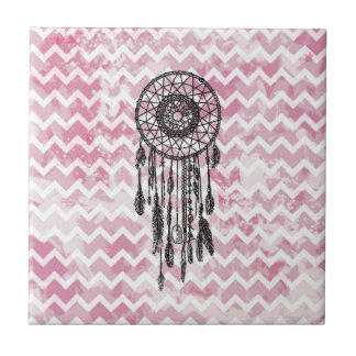 Pink Chevron Dreamcatcher Small Square Tile