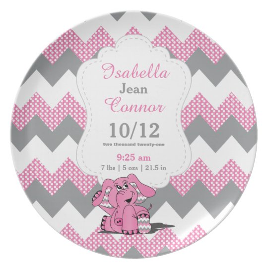 Pink Chevron Elephant - Birth Information Plate