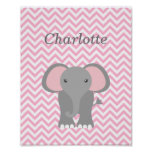 Pink Chevron Elephant Personalised Nursery Decor