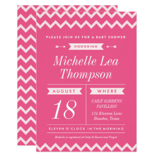 Pink Chevron Girl Baby Shower Invitations