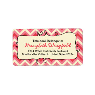 Pink Chevron Girly Doodle Personalized Address Label