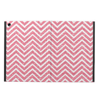 Pink Chevron Glitter Look ZigZag Shimmer Girly iPad Air Cases