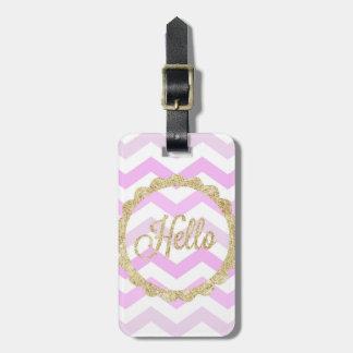 Pink Chevron & Gold Glitter Luggage Tag