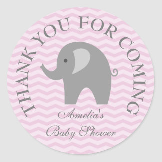 Pink chevron grey elephant girl babyshower sticker