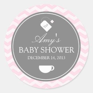 Pink Chevron High Tea Baby Shower Sticker