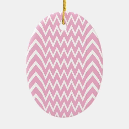 Pink Chevron Illusion Ceramic Ornament