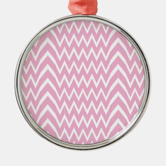 Pink Chevron Illusion Metal Ornament