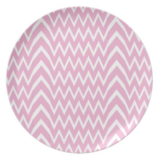 Pink Chevron Illusion Plate