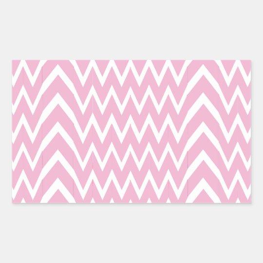 Pink Chevron Illusion Rectangular Sticker