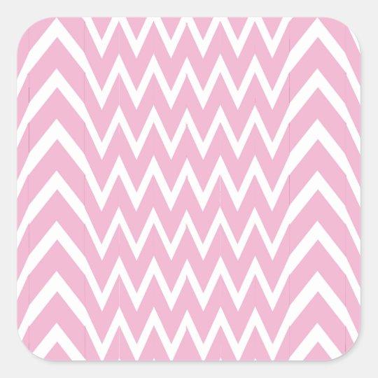 Pink Chevron Illusion Square Sticker