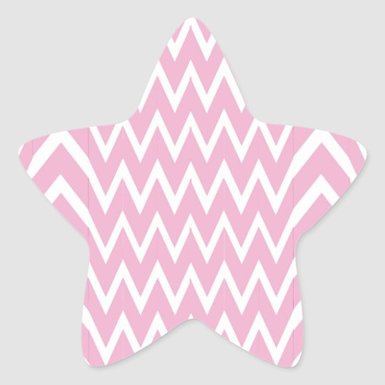 Pink Chevron Illusion Star Sticker