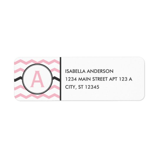 Pink Chevron Monogram Return Address Label