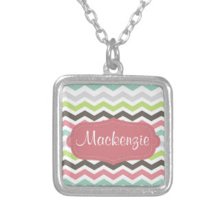 Pink chevron monogram silver plated necklace