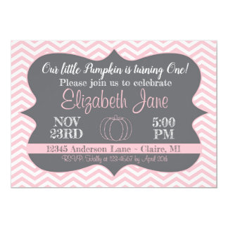 Pink Chevron Our Little Pumpkin Birthday Invite