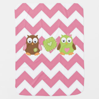 Pink Chevron, Owl Baby Blanket