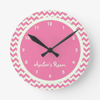 Pink Chevron Personalized Kid s Bedroom Wallclocks