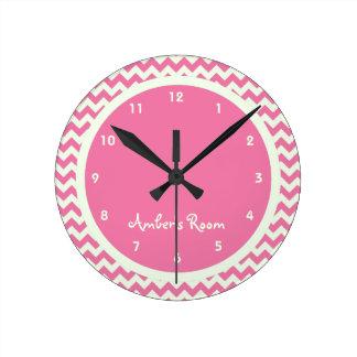Pink Chevron Personalized Kid's Bedroom Wallclocks
