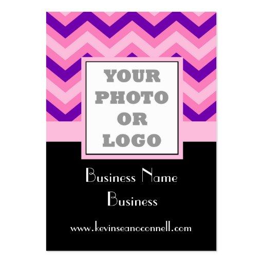 Pink chevron photo logo business card templates