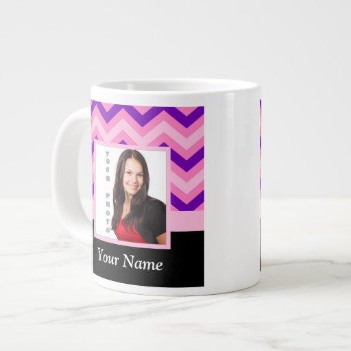 Pink chevron photo template jumbo mugs