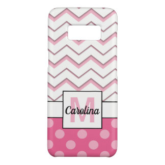 Pink Chevron & Polka Dots, Name & Monogram Case-Mate Samsung Galaxy S8 Case