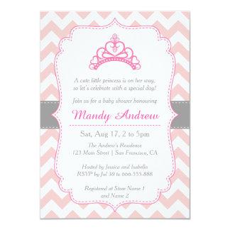 Pink Chevron, Princess Crown, Girl Baby Shower 11 Cm X 16 Cm Invitation Card