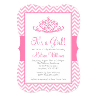 Pink Chevron Princess Crown Girl Baby Shower 13 Cm X 18 Cm Invitation Card
