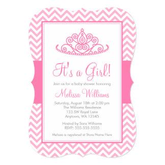 Pink Chevron Princess Crown Girl Baby Shower 13 Cm X 18 Cm Invitation Card