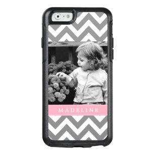 Pink Chevron Stripes Photo Frame OtterBox iPhone 6/6s Case