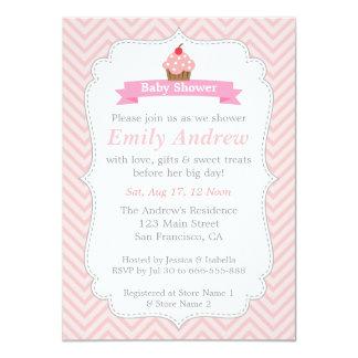 Pink Chevron, Sweet Cupcake, Baby Shower 11 Cm X 16 Cm Invitation Card