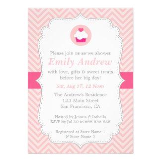 Pink Chevron Sweet Cupcake Baby Shower Custom Invitations