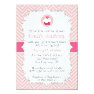 Pink Chevron, Sweet Cupcake, Baby Shower Custom Invitations