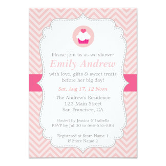 Pink Chevron, Sweet Cupcake, Baby Shower 4.5x6.25 Paper Invitation Card