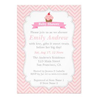 Pink Chevron Sweet Cupcake Baby Shower Invites