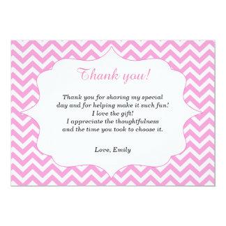 Pink Chevron Thank You Card