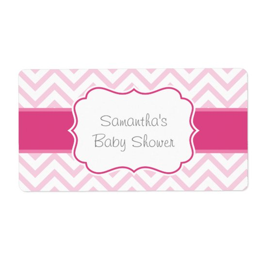 Pink Chevron Water Bottle Label Shipping Label