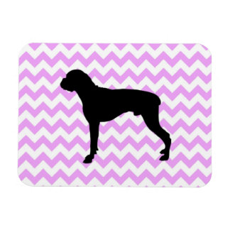Pink Chevron With Boxer Silhouette Rectangular Photo Magnet