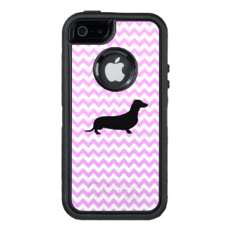 Pink Chevron With Dachshund OtterBox iPhone 5/5s/SE Case